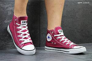Женские Кеды Converse высокие бордовые 40,41