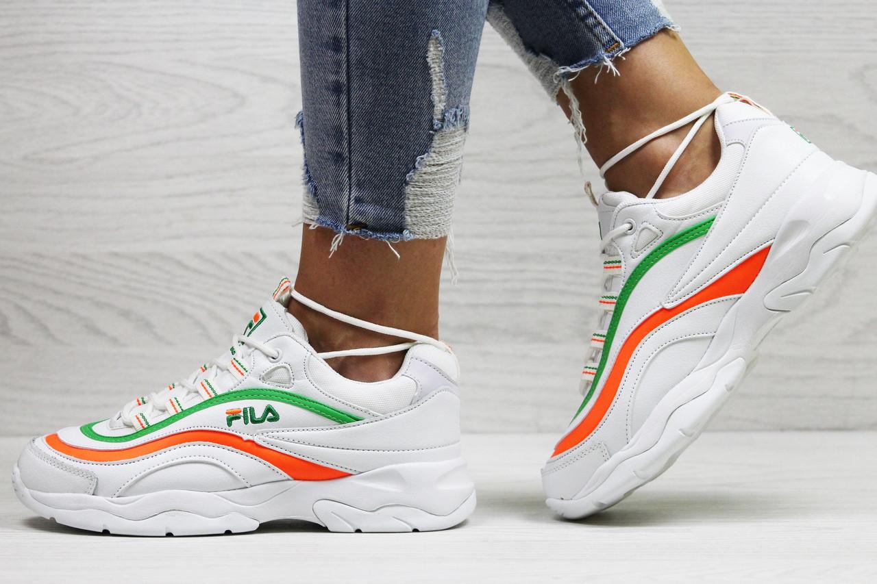 Женские,подростковые  кроссовки Fila,белые с зеленым