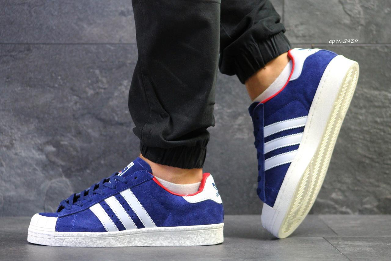 Мужские кроссовки Adidas La marque aux 3 bandes,синие с белым