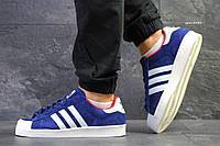 Мужские кроссовки Adidas La marque aux 3 bandes,синие с белым, фото 1