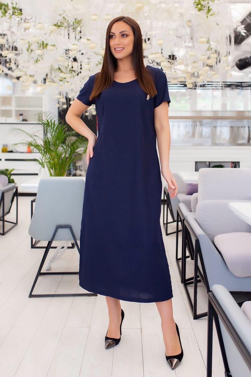 Льняное свободное платье большого размера