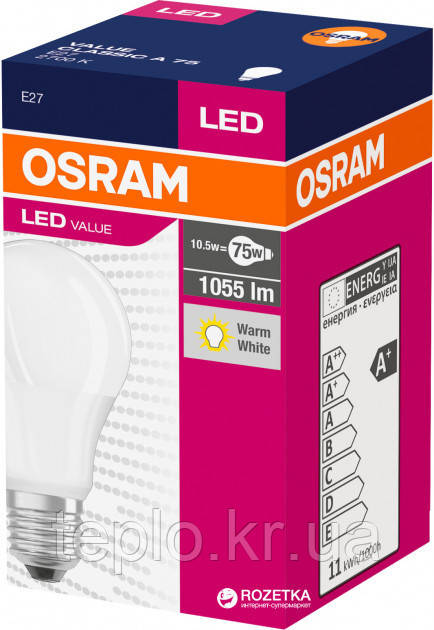 Лампа LED Osram CL A Value 75 10.5W/827 220-240V FR E27