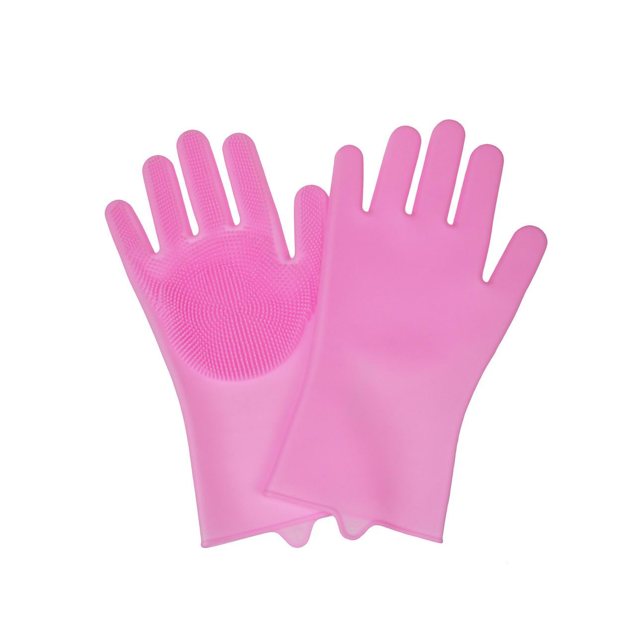 Силиконовые перчатки для мытья посуды, Розовый
