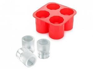 Силиконовая форма для изготовления ледяных рюмок, красный