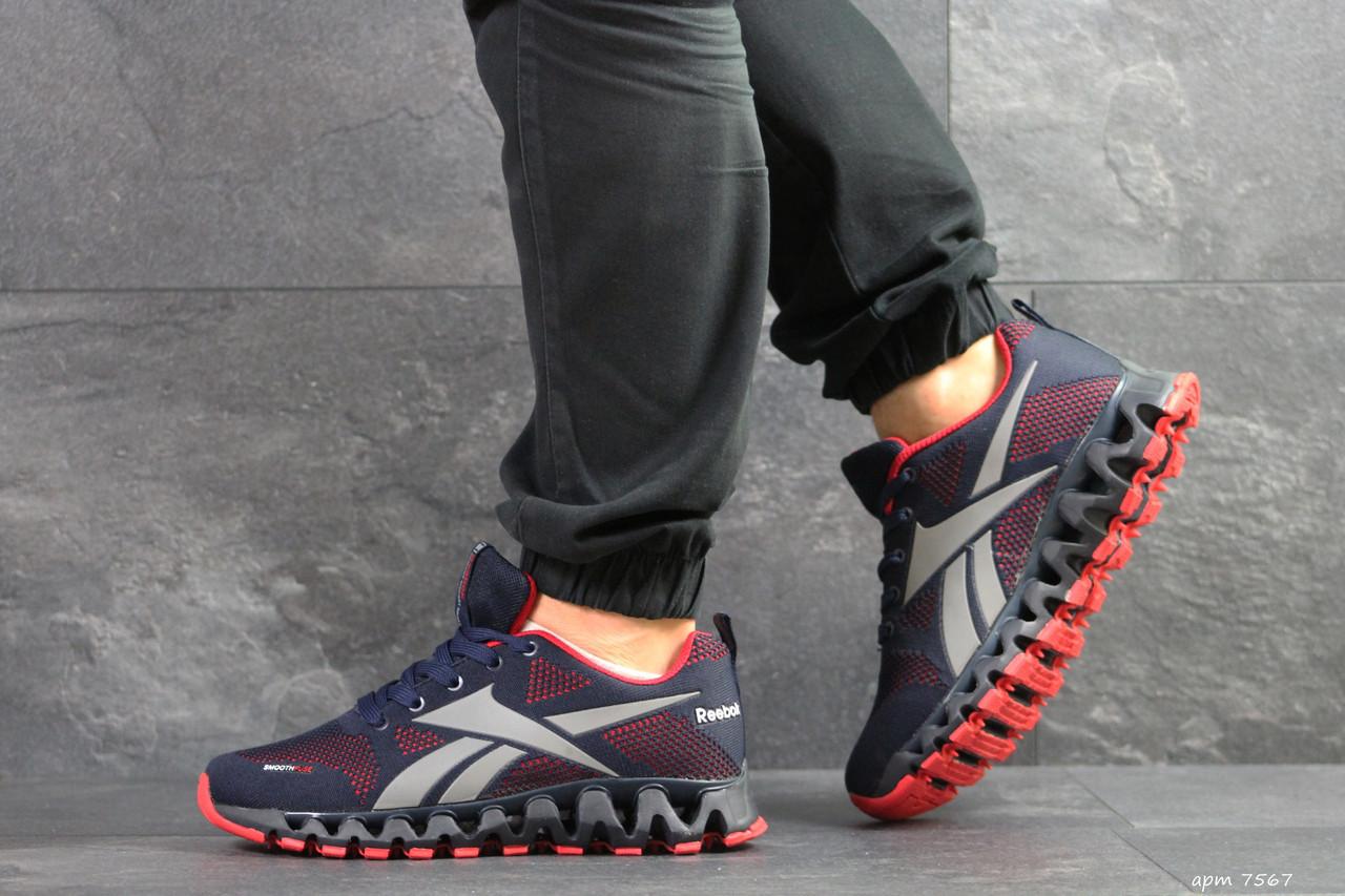 Мужские кроссовки Reebok Zignano,сетка,темно синие с красным