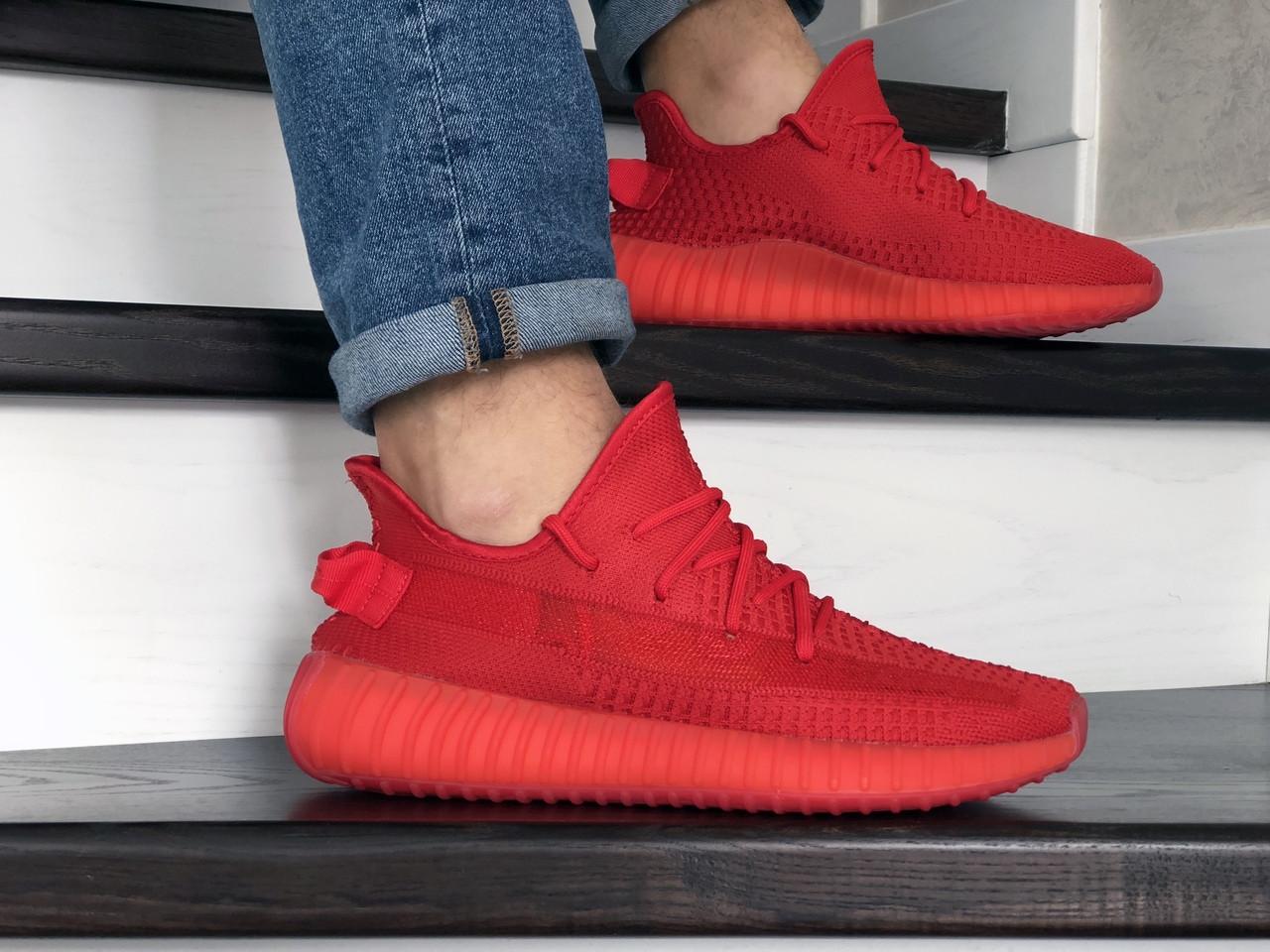 Модные кроссовки Adidas x Yeezy Boost,красные 41р