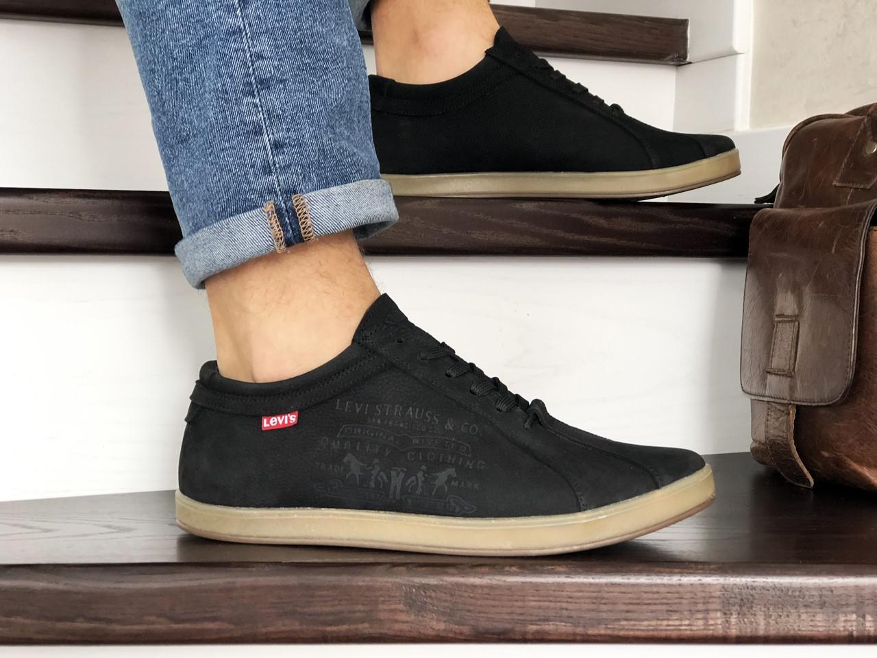 Мужские кроссовки (туфли) Levis, нубук,черные