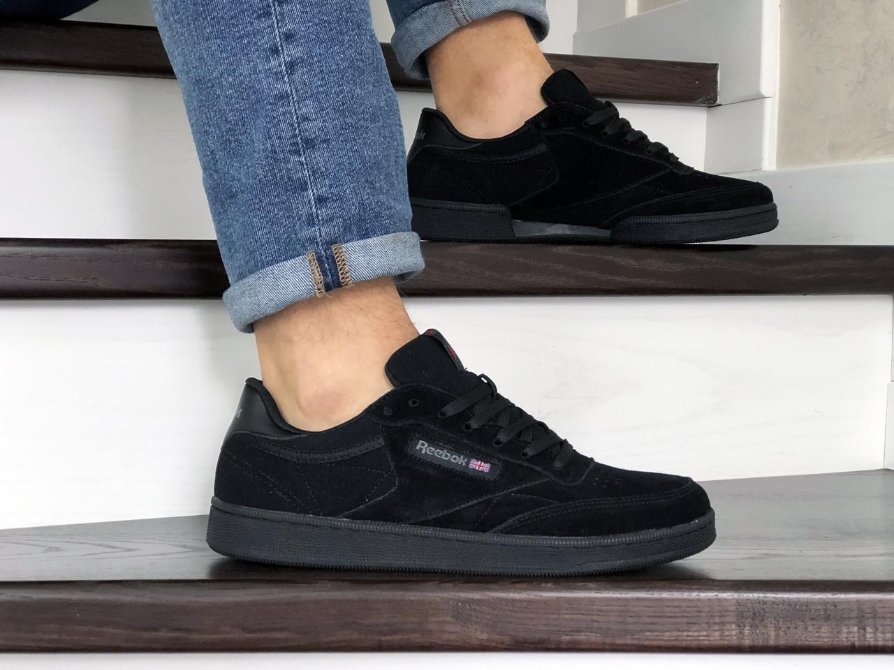 Мужские кроссовки Reebok,замшевые,черные