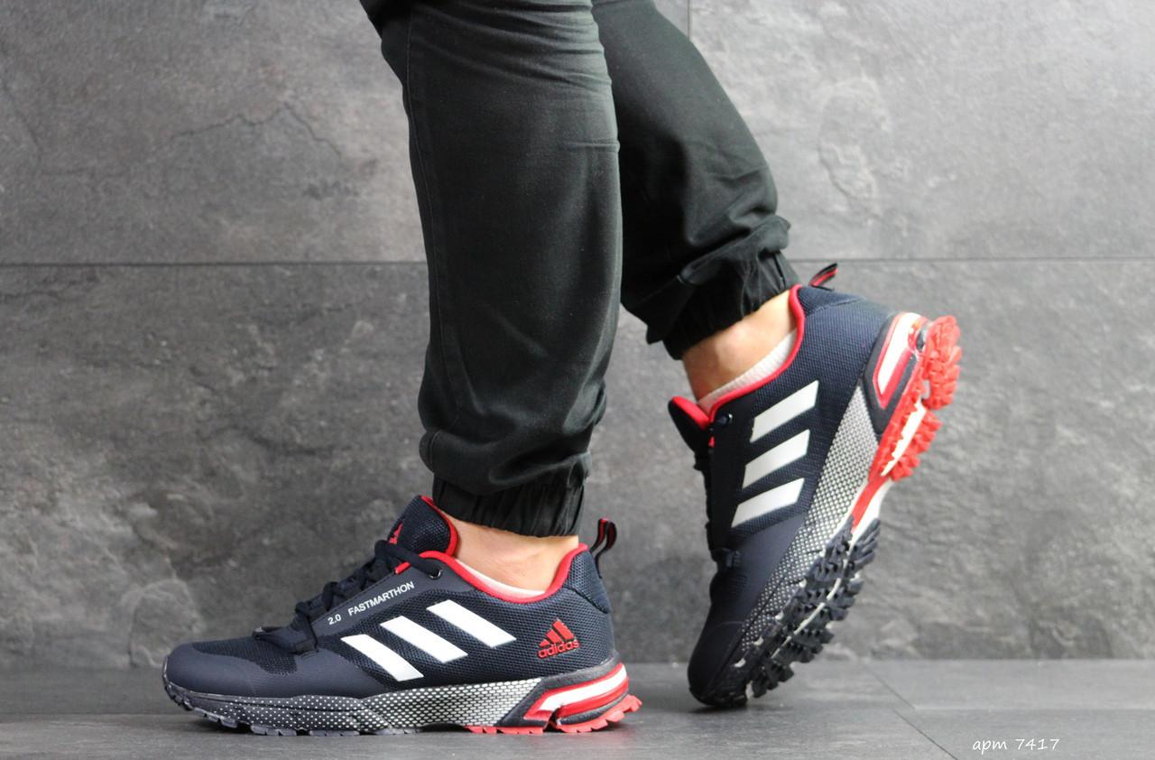 Кроссовки Adidas Fast Marathon 2.0 ,темно синие с красным (,) 46р