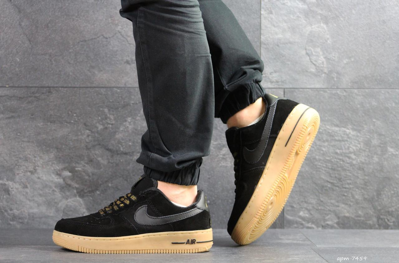 Кроссовки мужские Nike Air Force AF 1,замшевые,черные с коричневым 44р