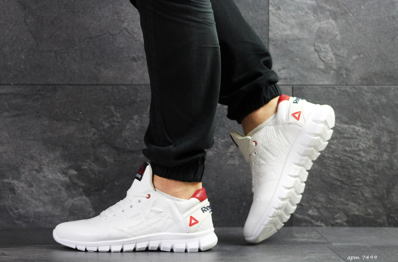 Мужские кроссовки Reebok Sublite,кожаные,белые