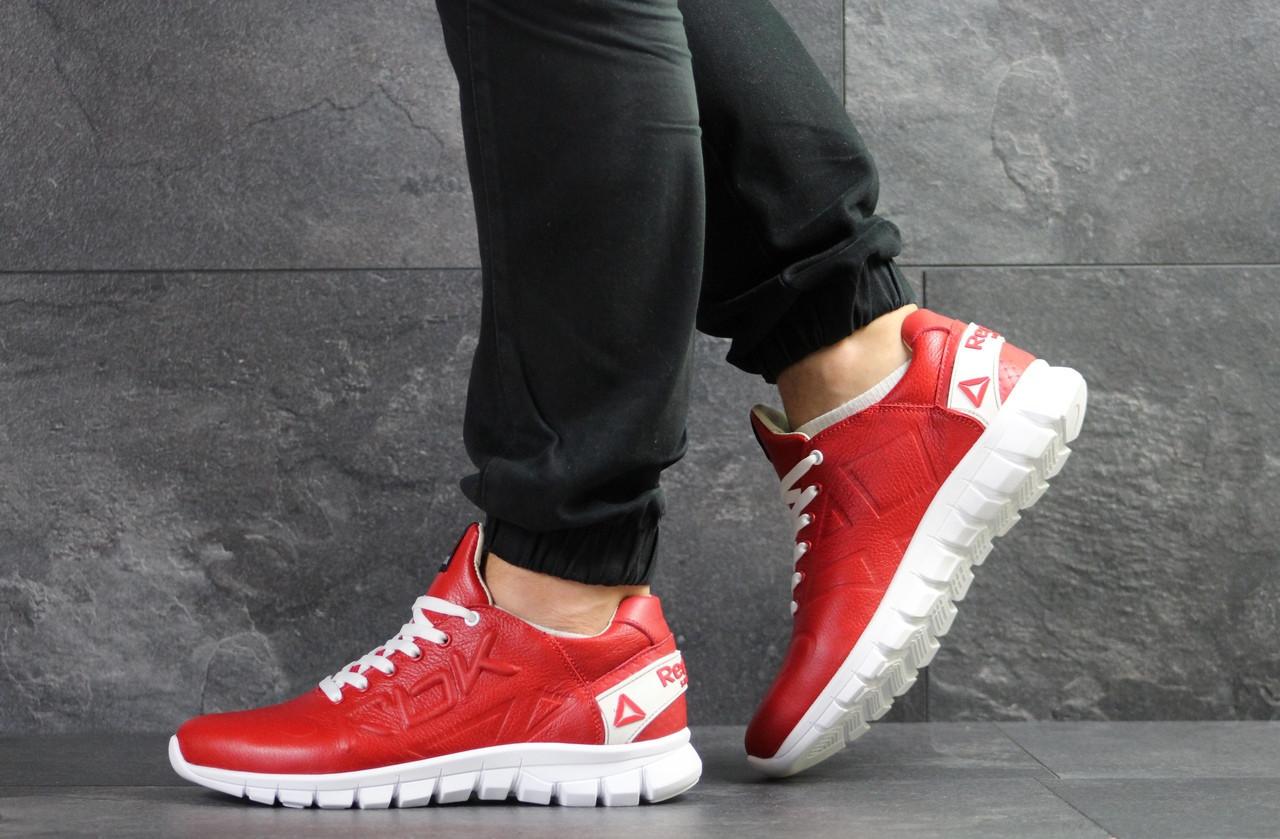 Мужские кроссовки Reebok Sublite,кожаные,красные