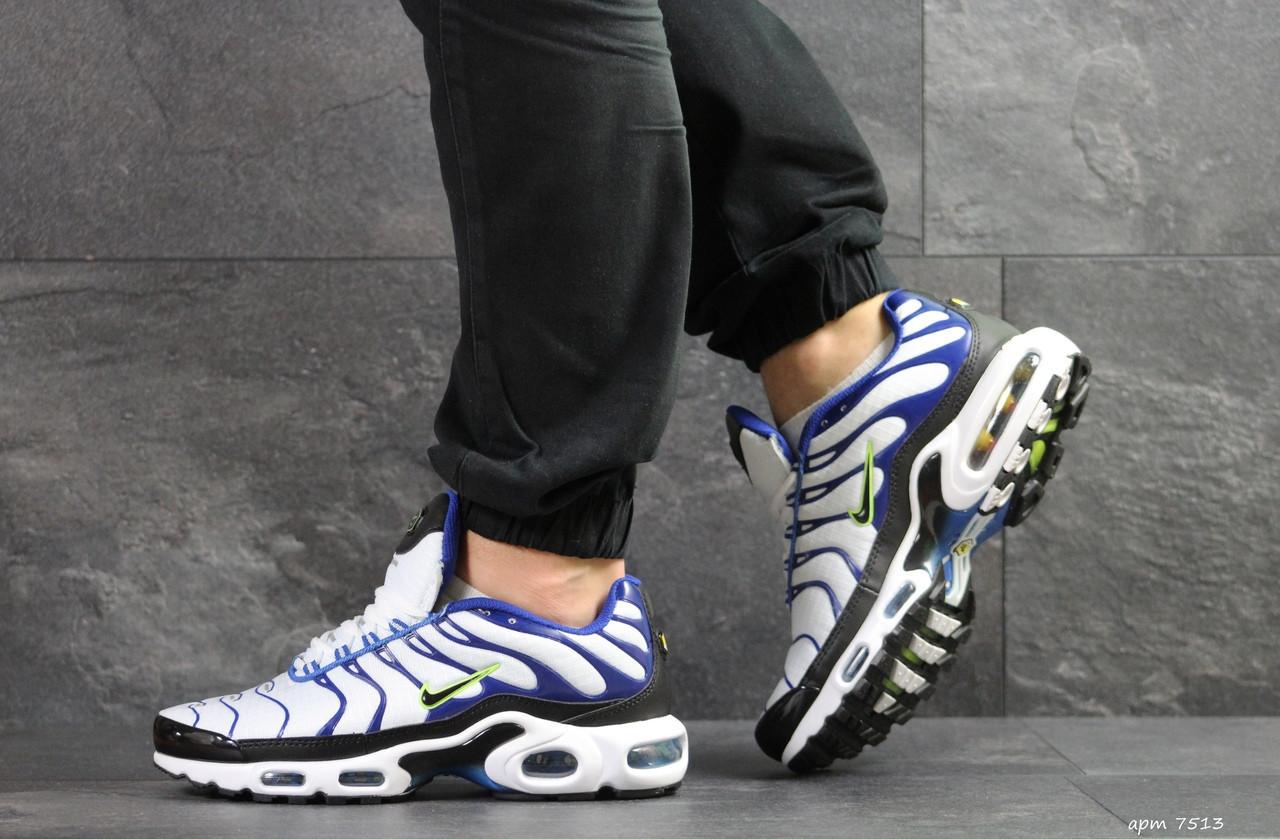 Кроссовки мужские Nike air max TN, белые с синим