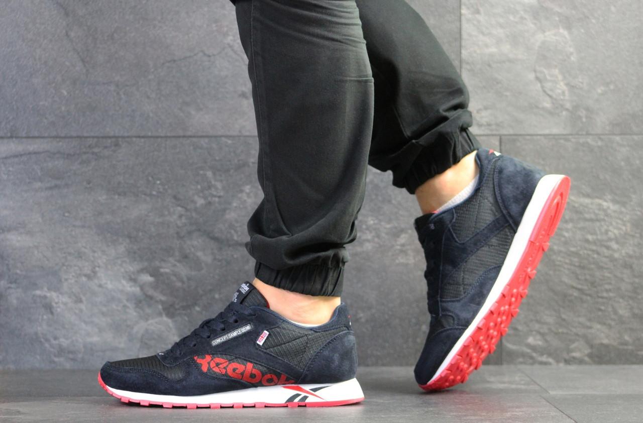 Мужские кроссовки Reebok,темно синие с красным