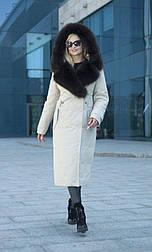 Зимняя женская удлиненная парка с мехом соболь Ledi L Олисия