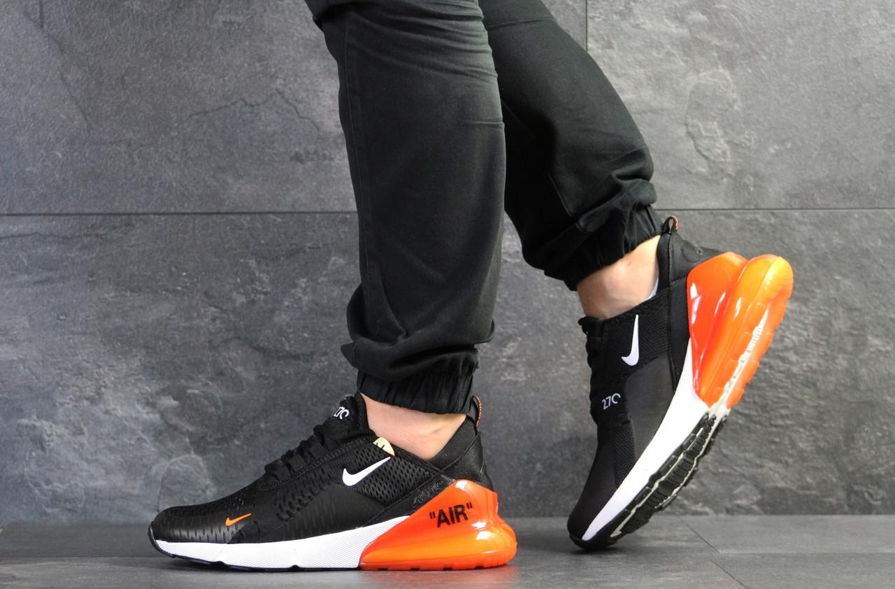 Мужские летние кроссовки Nike Air Max 270,черно-белые с оранжевым