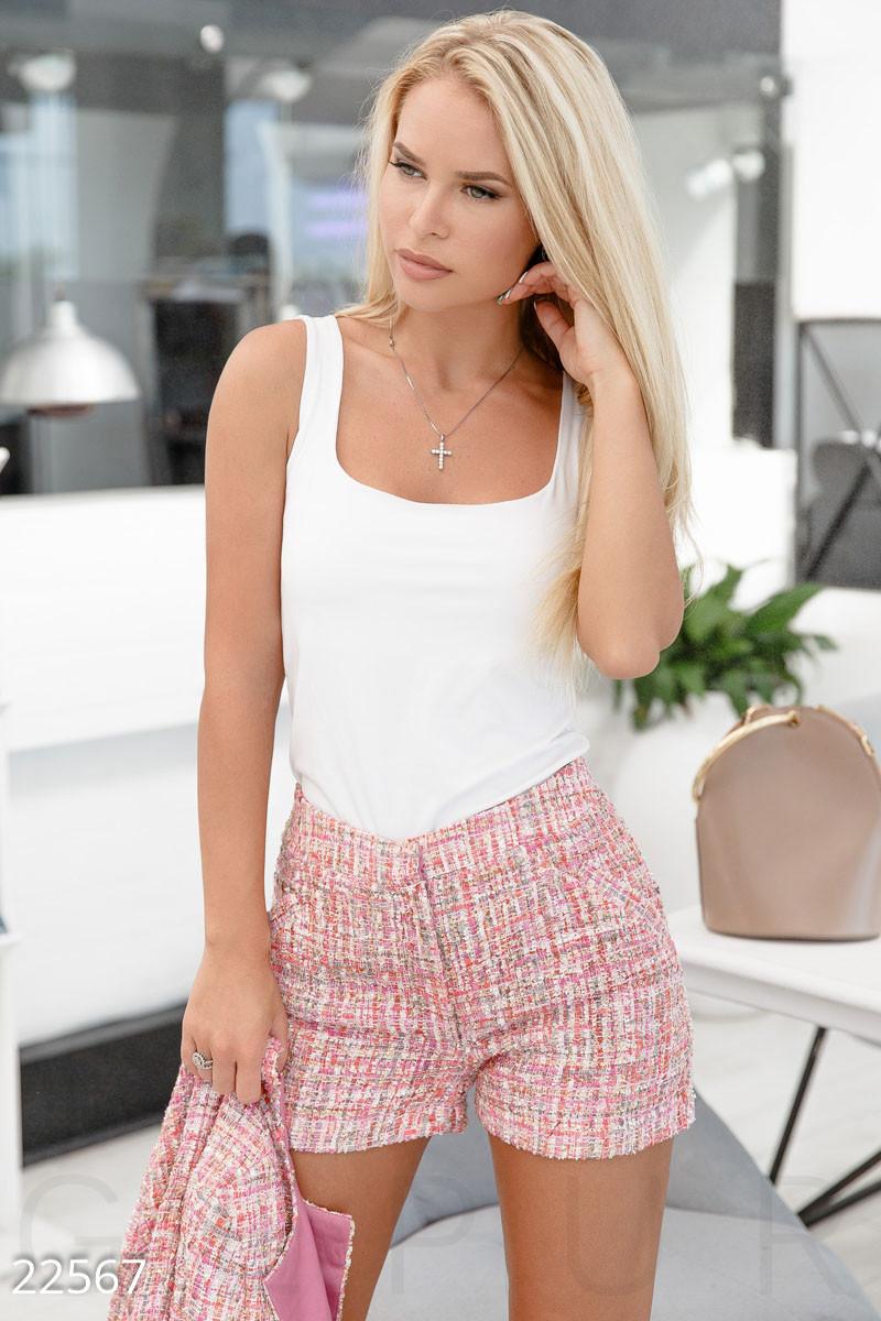Ділові шорти букле яскраво-рожеві