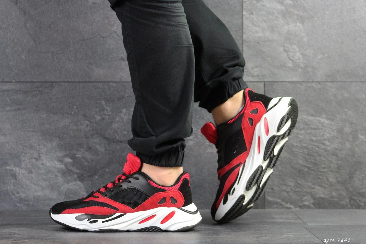 Демисезонные мужские кроссовки Adidas balance life,черные с красным