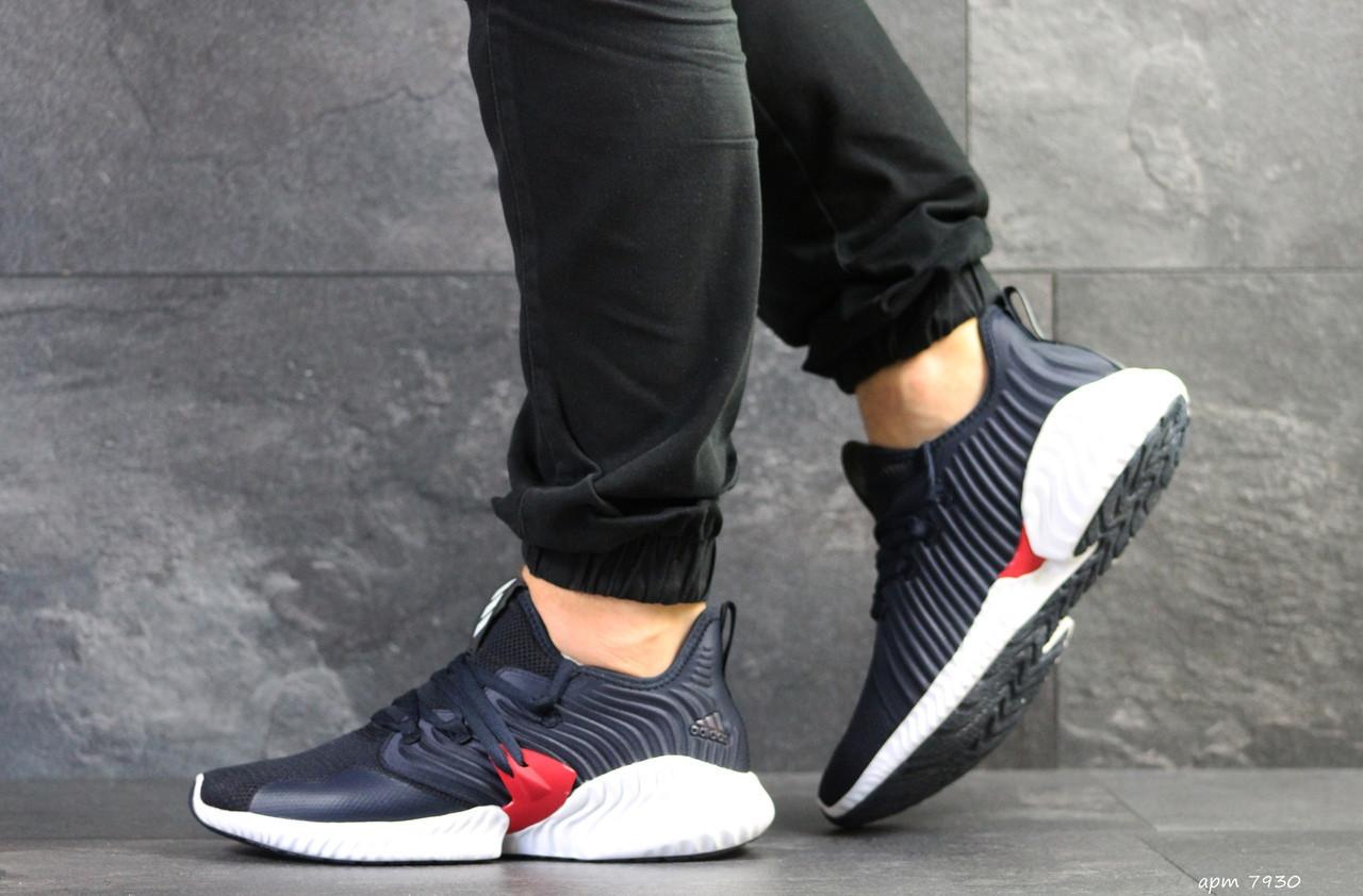Мужские летние кроссовки Adidas,темно синие с белым,сетка