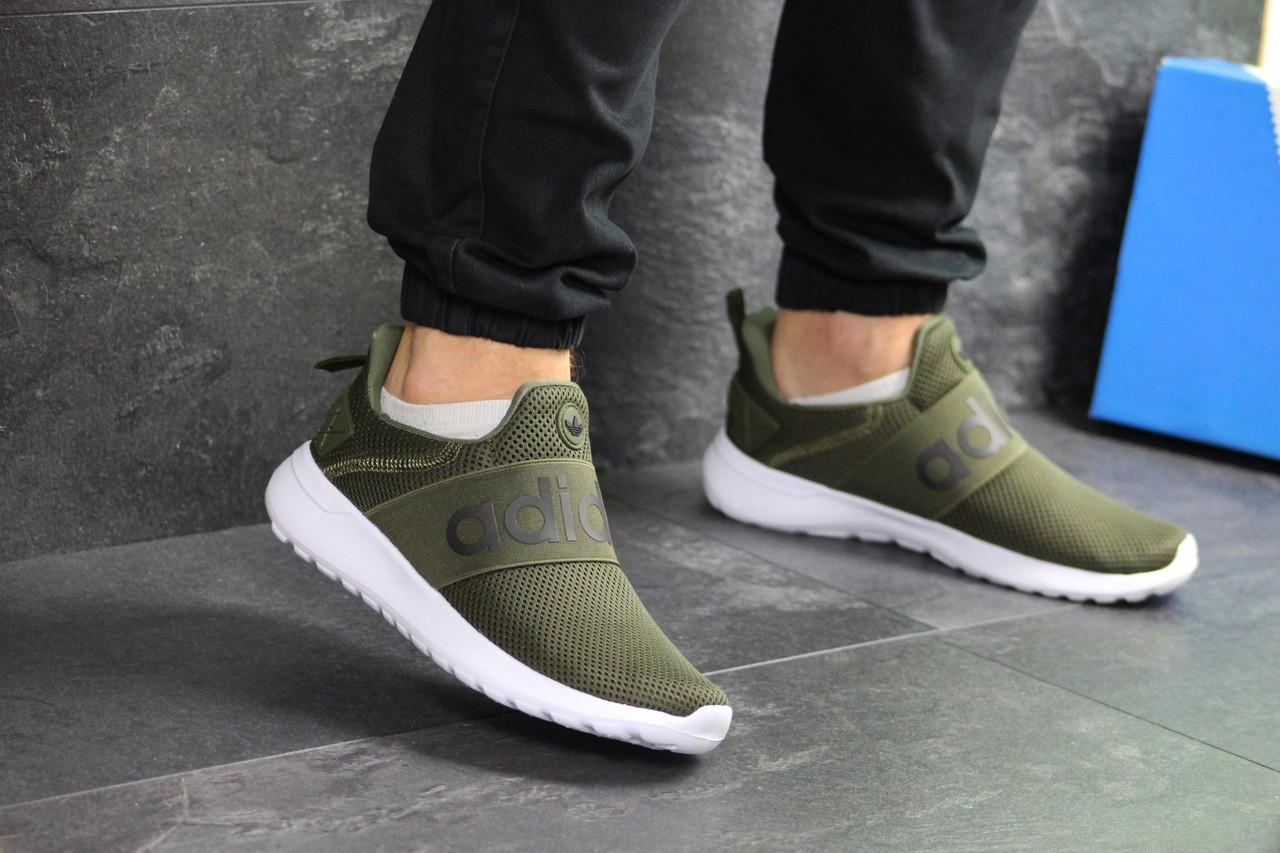 Мужские летние кроссовки Adidas,темно зеленые,сетка