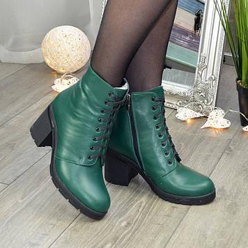 Ботинки женские кожаные на устойчивом каблуке, цвет зеленый