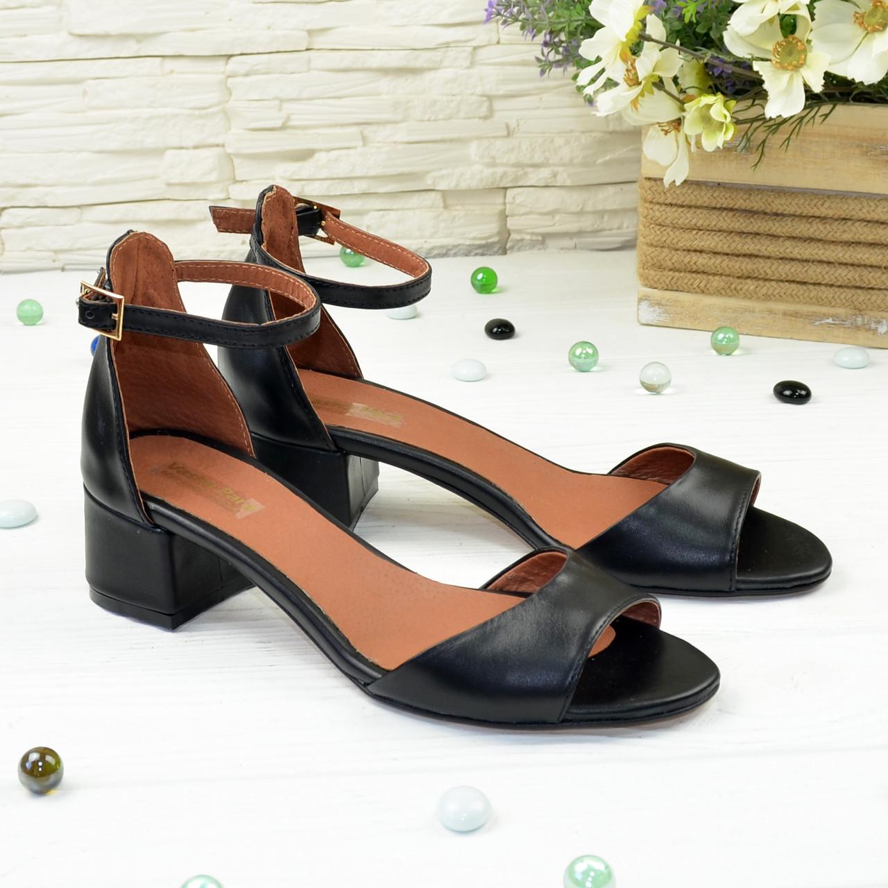 Босоножки женские кожаные на невысоком каблуке, цвет черный