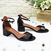 Босоножки женские кожаные на невысоком каблуке, цвет черный, фото 3