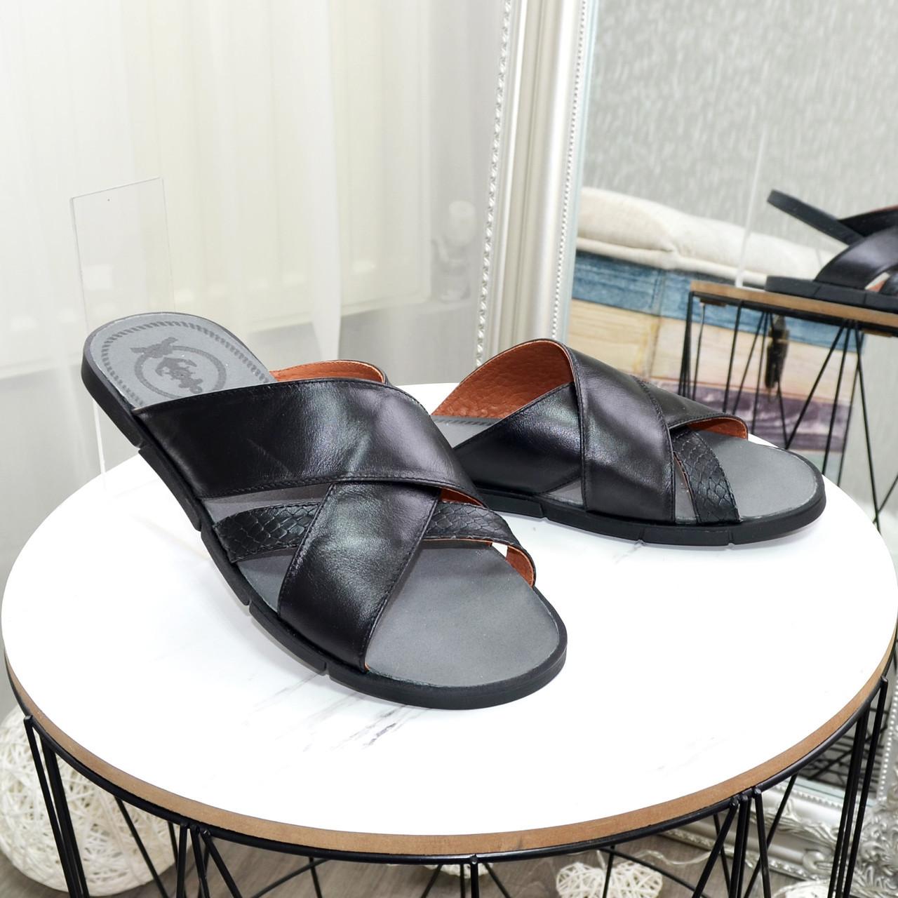 Шлепанцы мужские кожаные, цвет черный
