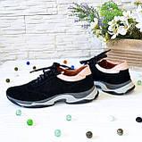 Кроссовки женские комбинированные на утолщенной подошве, цвет черный/пудра, фото 2