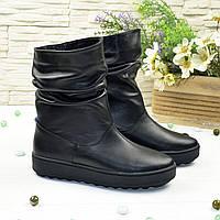 Ботинки женские черные кожаные свободного обувания, на утолщенной подошве