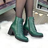 Ботинки женские кожаные на устойчивом каблуке, цвет зеленый, фото 3