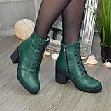 Ботинки женские кожаные на устойчивом каблуке, цвет зеленый, фото 6