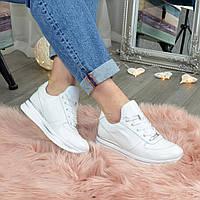 Женские кожаные белые кроссовки на шнуровке