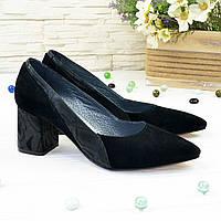 Туфли женские черные на устойчивом каблуке, натуральная замша и кожа