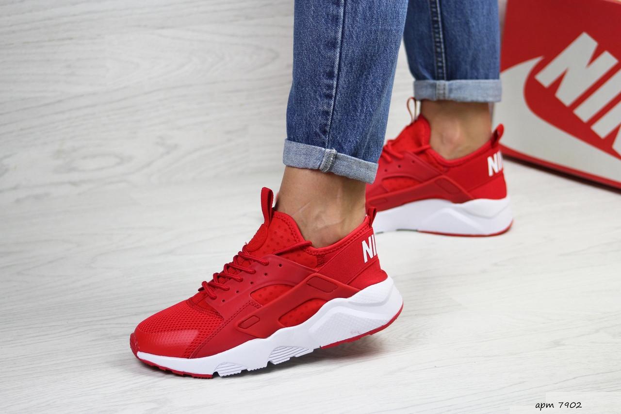 Женские летние кроссовки Nike Air Huarache,сетка,красные
