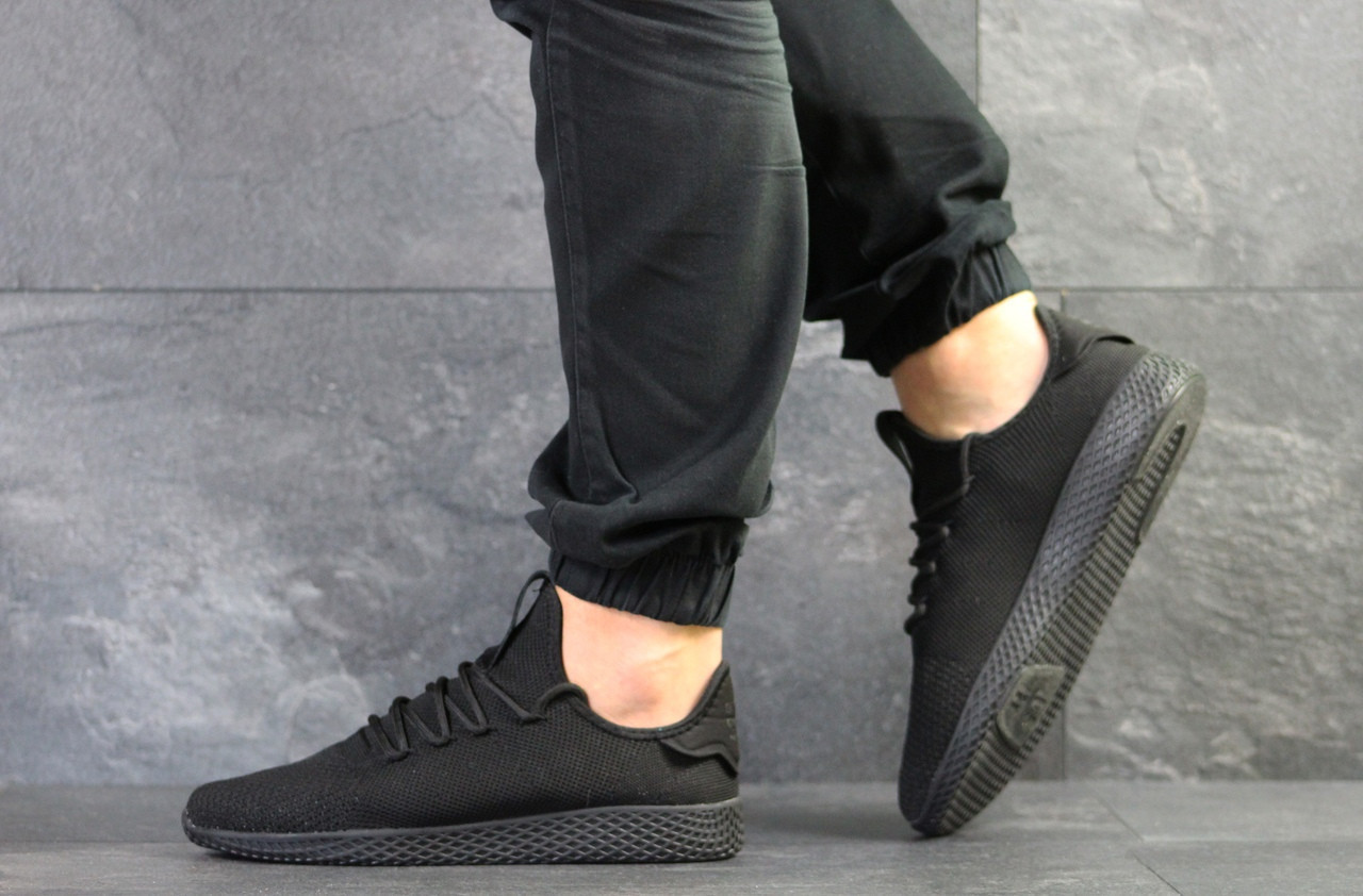Мужские летние кроссовки Adidas Pharrell Williams,черные,сетка