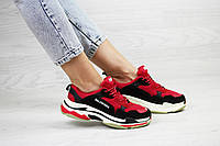 Женские,подростковые кроссовки Balenciaga(Баленсиага),красные с черным, фото 1