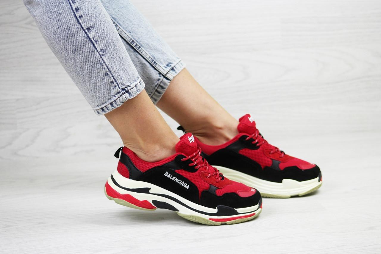 Женские,подростковые кроссовки Balenciaga(Баленсиага),красные с черным