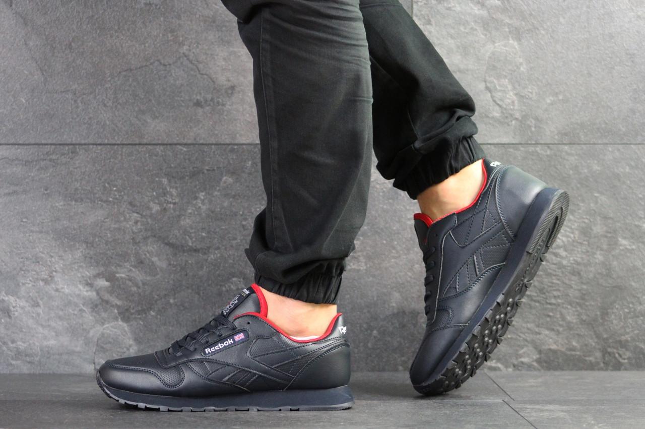 Мужские кожаные кроссовки Reebok,темно синие 44,46р