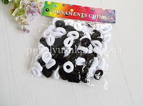 """Резинки цветные """"Калуш"""" маленькие бело-черные 2 см (100 шт)"""