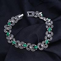 Браслет «Бесконечность» с зелеными камнями, фото 1