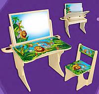 """Детская парта со стулом """"Мадагаскар с двусторонним мольбертом"""" регулируемая по высоте от 2 до 8 лет."""
