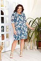 Платье - туника шифон и микромасло батал, фото 1