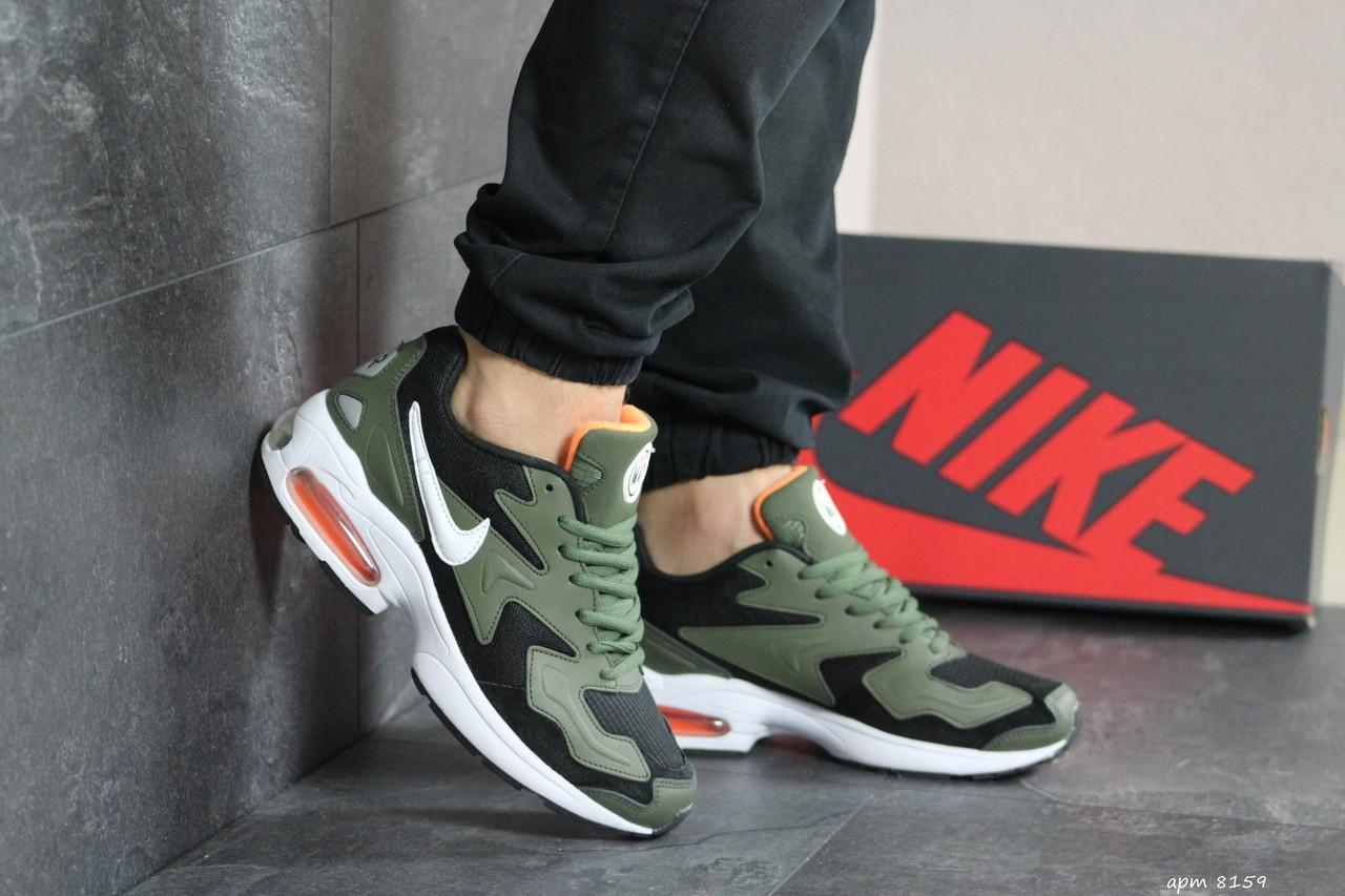 Кроссовки мужские Nike Air Max 2,темно зеленые с черным