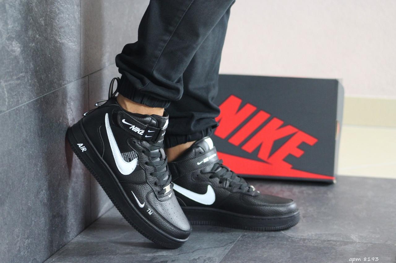 Мужские высокие кроссовки Nike Air Force AF 1,черные