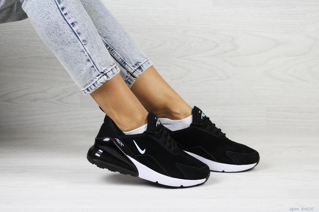 Замшевые женские кроссовки Nike Air Max 270,черно-белые
