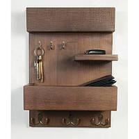 Полка - вешалка - ключница 3 в 1 в прихожую «Wooden Housekeeper» из дерева ясеня в скандинавском стиле