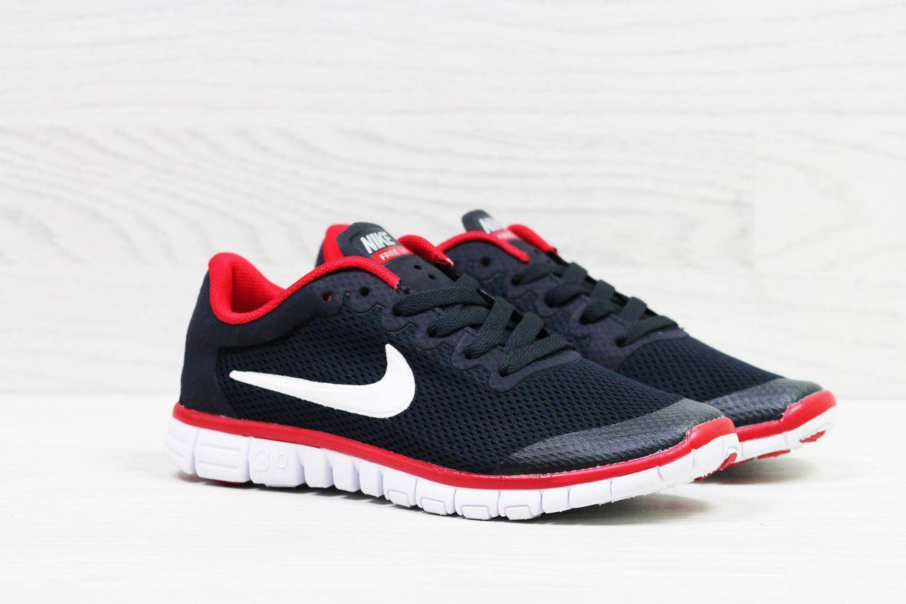 Женские кроссовки летние Nike Free Run 3.0 темно синие с красным 36р