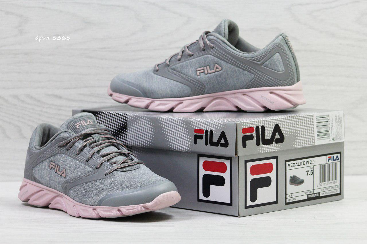 Женские,подростковые кроссовки Fila Megalite W 2.0,летние,серые с розовым