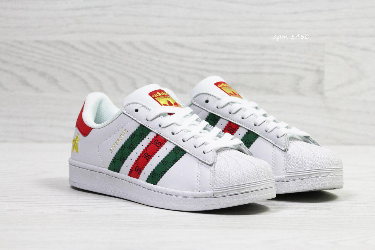 Подростковые кроссовки Adidas Superstar белые/красные/зеленые